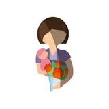 мать держа изображение младенца и букета бесплатная иллюстрация