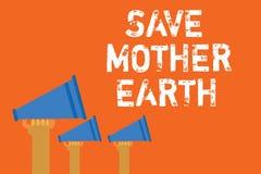 Мать-земля спасения показа знака текста Схематическое фото делая малые действия предотвращает дикторов объявления тепловой энерги Стоковые Изображения