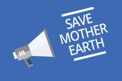 Мать-земля спасения показа знака текста Схематическое фото делая малые действия предотвращает announc символа тепловой энергии от Стоковое Изображение RF