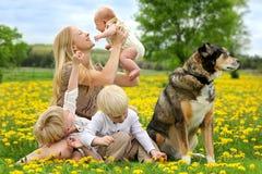 Мать и 3 дет играя в луге цветка Стоковое Фото
