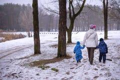 Мать и 2 дет имея потеху outdoors Идя снег леса зимы первый Стоковые Изображения