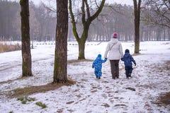 Мать и 2 дет имея потеху outdoors Идя снег леса зимы первый Стоковые Фото