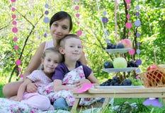 Мать и 2 дет на пикнике лета Стоковые Фотографии RF