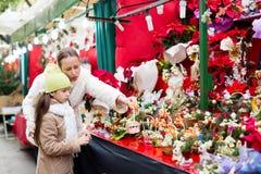 Мать и дочь выбирают омелу Стоковые Фотографии RF