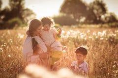Мать и дочь и сын в пшеничном поле Стоковое фото RF