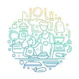 Мать и дочь на кухне - выровняйте градиент цвета состава Стоковые Фотографии RF