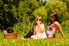 Мать и дочь на пикнике детеныши женщины лета гор отдыха Стоковые Изображения RF