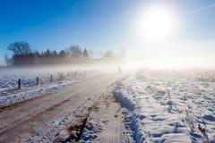 Мать и ребенок на туманнейшей дороге снежка стоковые изображения rf