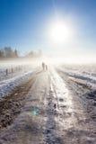 Мать и ребенок на туманнейшей дороге снежка стоковое фото rf