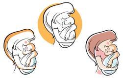 Мать и ребенок логотипа вектора Стоковое Изображение