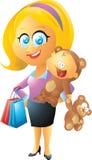 Мать и ребенок с плюшевым медвежонком Стоковая Фотография