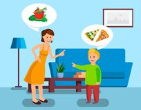 Мать и сын споря иллюстрация вектора цвета бесплатная иллюстрация
