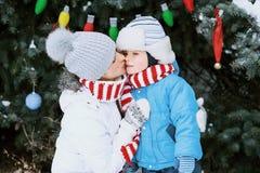 Мать и сын украшают рождественскую елку внешнюю в парке зимы Подарки и рождественские елки Стоковая Фотография