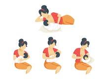 Мать кормя ее newborn набор грудью младенца Идея ухода за детьми бесплатная иллюстрация