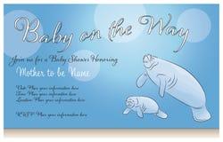 Мать ламантина и приглашение или карточка детского душа бесплатная иллюстрация