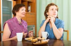 Мать пенсионера и ее ча-выпивать дочери Стоковое Изображение