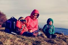 Мать при 2 дет в горах Стоковая Фотография RF