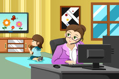 Мать работая в офисе иллюстрация штока