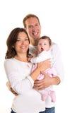 Мать ребёнка и семья отца счастливая на белизне Стоковое Изображение