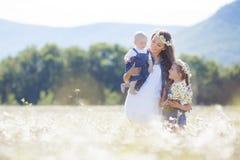 Мать с детьми в поле лета зацветая маргариток Стоковые Изображения