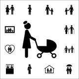 мать с значком прогулочной коляски Детальный комплект значков семьи Наградной качественный знак графического дизайна Один из знач иллюстрация штока
