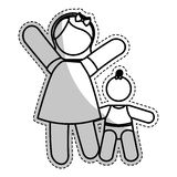 Мать с изображением значка ребенка иллюстрация вектора