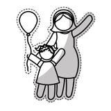Мать с изображением значка ребенка иллюстрация штока