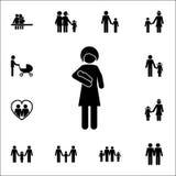мать с младенцем в ее значке оружий Детальный комплект значков семьи Наградной качественный знак графического дизайна Один из зна Стоковые Изображения RF