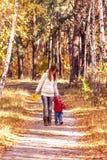 Мать с плача сыном на пути в осеннем парке Стоковое Изображение