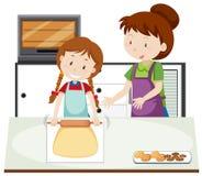 Мать учит, что дочь печет иллюстрация штока