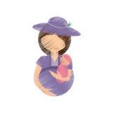 мать чертежа держа младенца и беременной иллюстрация штока