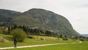 Мать Hiker с младенцем около scScenic озера Bohinj со своими зелеными окрестностями в Словении стоковая фотография rf