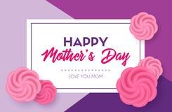 мать s дня счастливая Поздравительная открытка вектора с рамкой и розами Стоковое фото RF