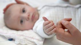 мать s удерживания перста младенца акции видеоматериалы