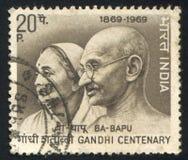 Махатма Ганди и жена Kasturba стоковое изображение