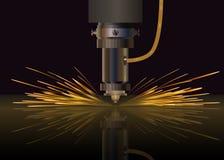 Машина лазера для металла также вектор иллюстрации притяжки corel Стоковая Фотография RF
