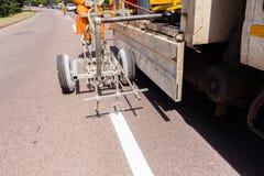 Машина брызга картины дороги Стоковая Фотография RF