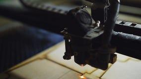 Машина для лазера режа деревянный конец вверх по макулатурному картону отрезков и дыму появляется видеоматериал