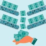 Машина делает долларовые банкноты Финансовая система иллюстрация штока