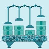 Машина делает долларовые банкноты иллюстрация вектора