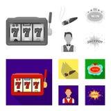 Машина игры одн-вооруженный бандит, сигара с дымом, пятизвездочный знак гостиницы, dilettante в казино жилета и иллюстрация вектора