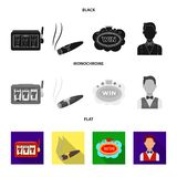 Машина игры одн-вооруженный бандит, сигара с дымом, пятизвездочный знак гостиницы, dilettante в казино жилета и бесплатная иллюстрация