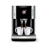 Машина кофе при изолированные чашки Иллюстрация штока