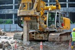 Машина снаряжения кучи скважины в строительной площадке Стоковое Фото