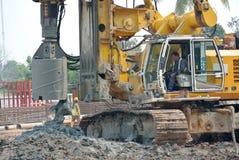 Машина снаряжения кучи скважины в строительной площадке Стоковое Изображение RF