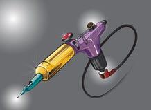 Машина татуировки притяжки руки роторная Покрашенные изменения также вектор иллюстрации притяжки corel Стоковое фото RF