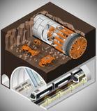 Машина тоннеля сверлильная на конструкции стоковое изображение
