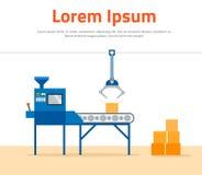 Машина транспортера в фабрике - плоской иллюстрации Изготовление и упаковка на фабрике конвейерной лентой Стоковое Фото