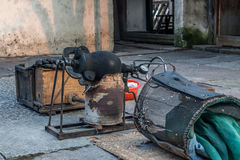 Машина традиции в Китае использовала для того чтобы сделать попкорн Стоковое Фото