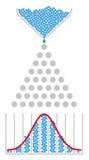 Машина фасоли, нормальное распределение, гауссовая кривая колокола иллюстрация штока